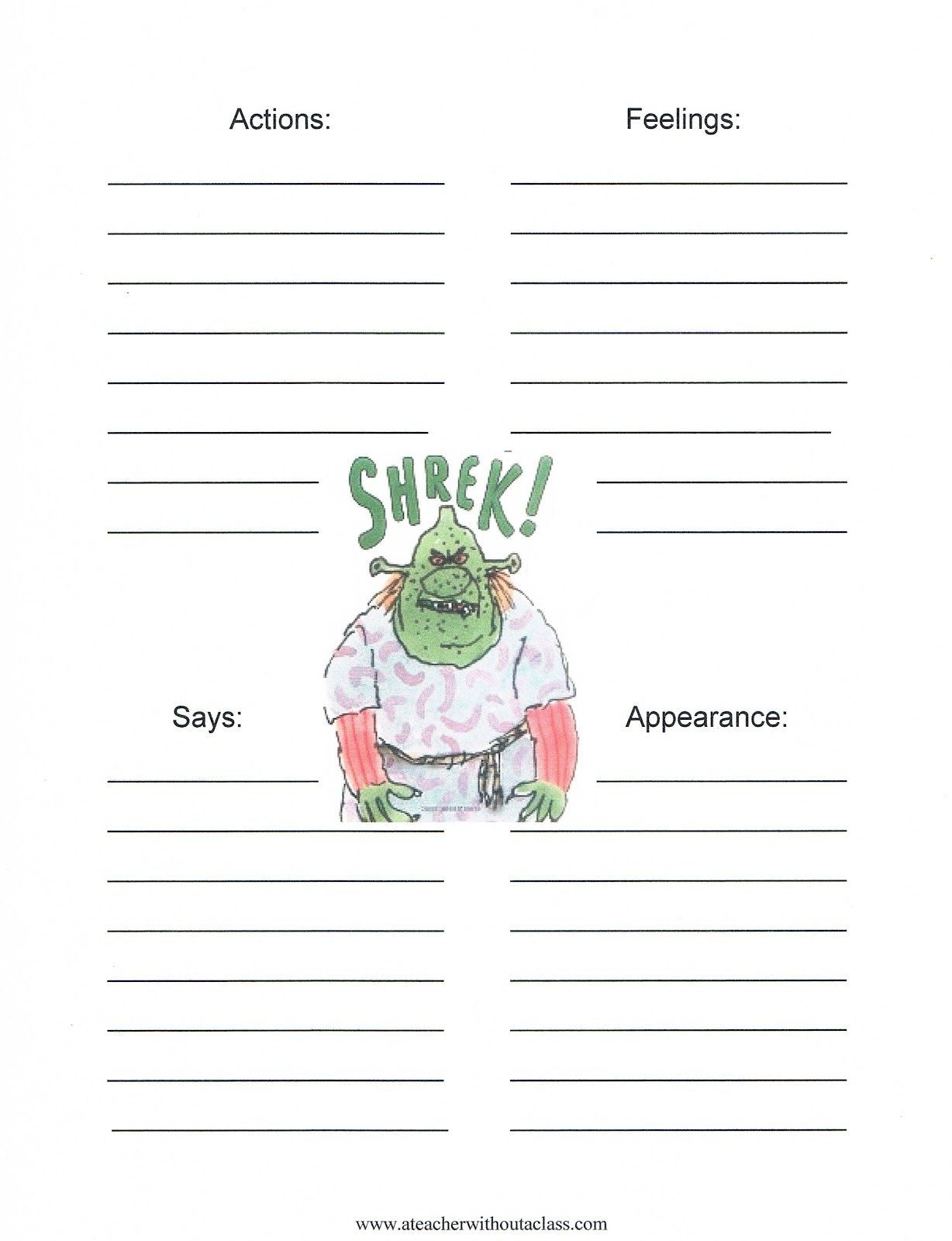Character map of Shrek William Steig Pinterest