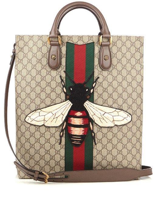 aca99f5d2946 GUCCI Web Animalier Bee-Appliqué Canvas Tote.  gucci  bags  canvas  tote   lining  shoulder bags  suede  hand bags