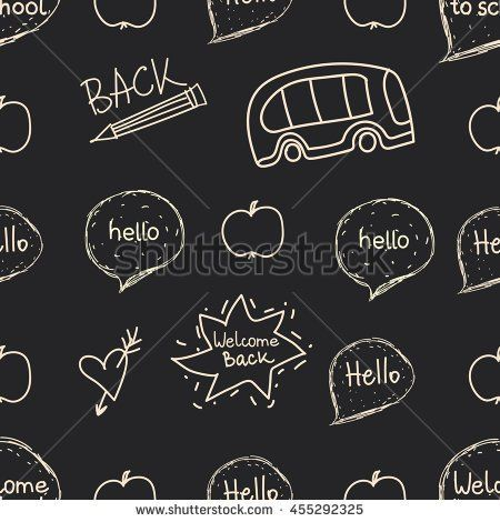 Seamless Pattern Welcome Back To School Elements Of School Symbols