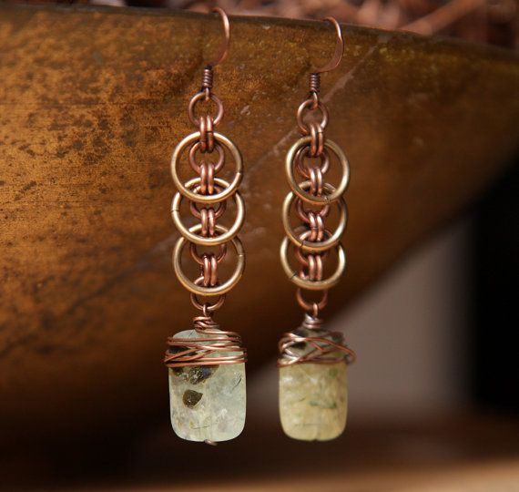 Eclipse earrings with wire wrapped green by StudioEgallery on Etsy