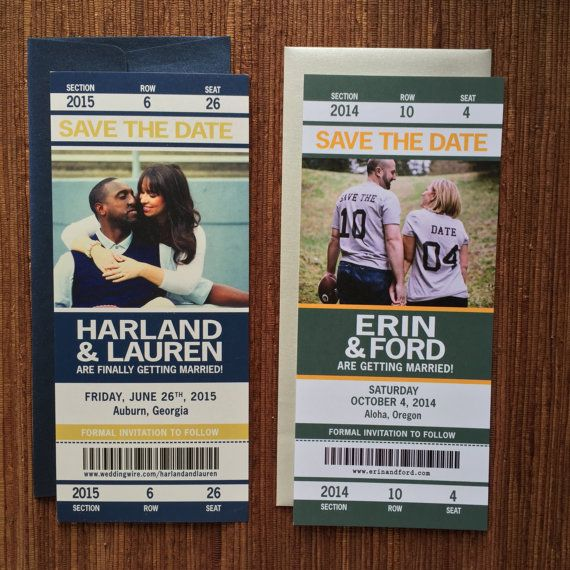 Sport Ticket Wedding Save The Date / Invitation Tickets