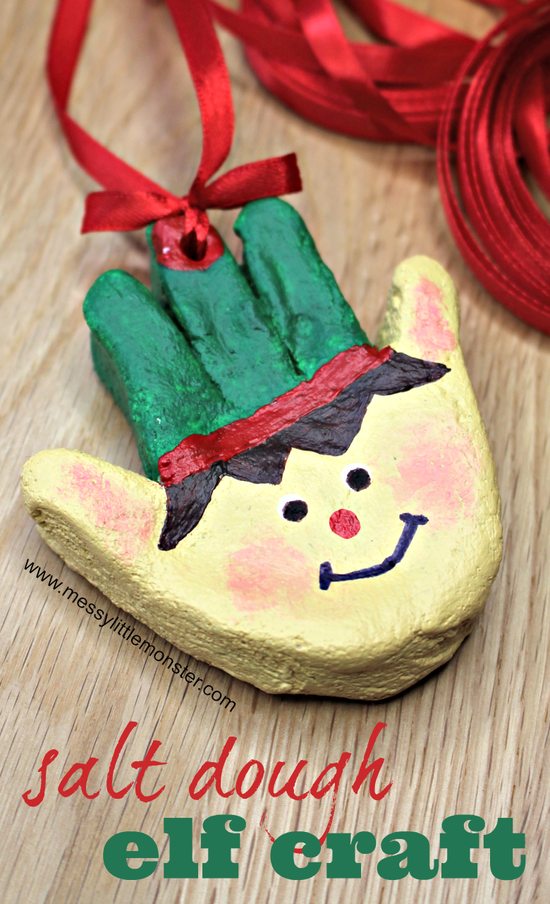 The Cutest Christmas Elf Craft Ever These Salt Dough Handprint Ornaments Make An Easy Christmas Craf Baby Christmas Crafts Elf Crafts Kids Christmas Ornaments