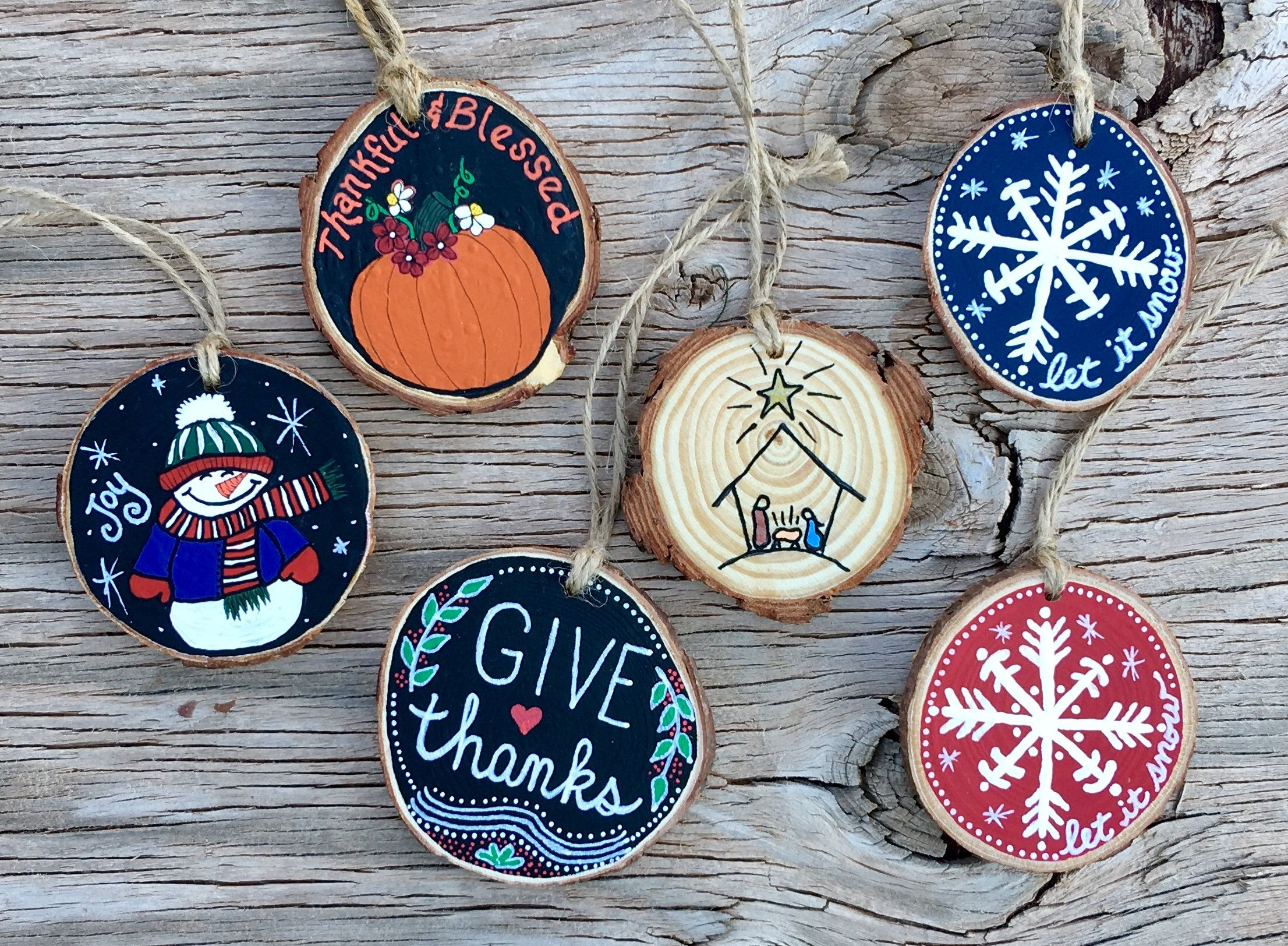 Hand Painted Rustic Wood Slice Ornaments Christmas Holiday Etsy Wood Slice Ornament Christmas Ornament Crafts Christmas Ornaments