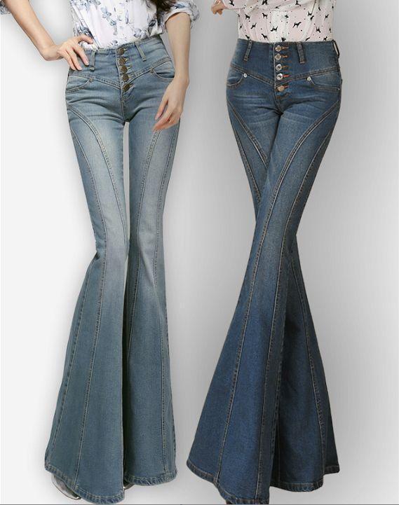 a11a699dd8b Korea Womens Boot Cut Jean Slim Fit Flared Bell-Bottom Trousers High Waist  Pants