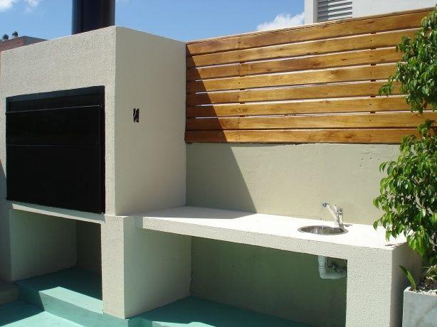 Terraza con barbacoa 3 barbacoa pinterest for Asadores modernos jardin