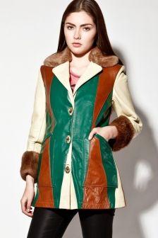 Vintage 70s Leather Shearling Color Block Coat http://thriftedandmodern.com/vintage-70s-shearling-lined-leather-coat