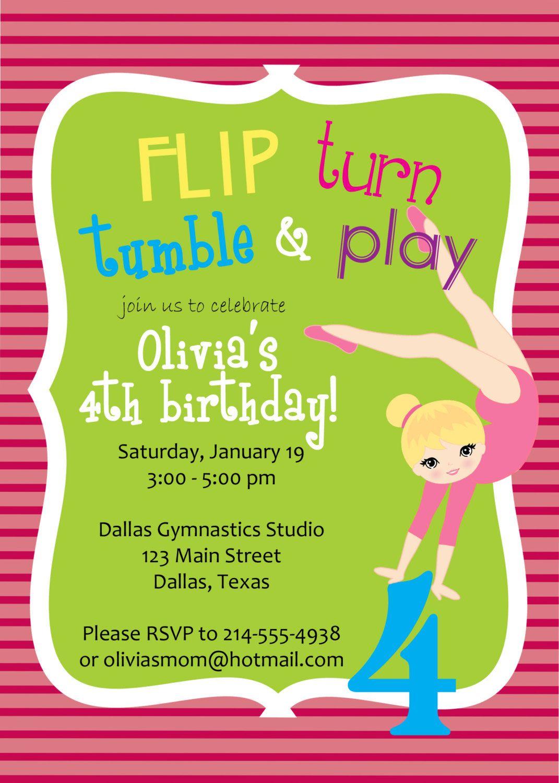 Gymnastics party invitation printable flip by