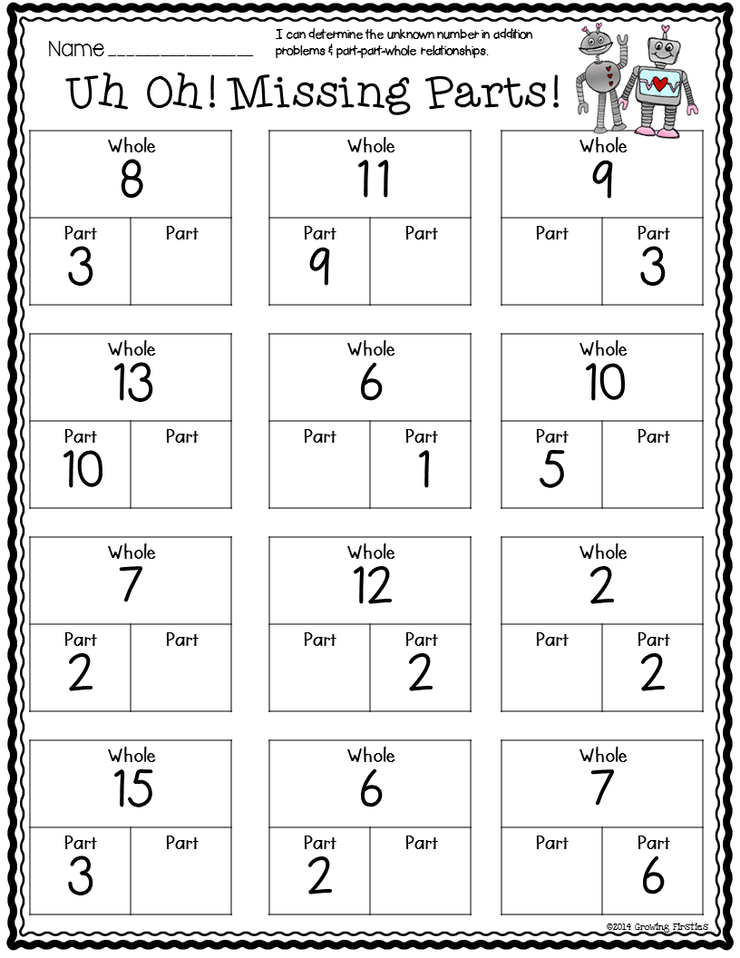 Number Bonds Worksheets First Grade Math Worksheets Common Core Math Worksheets First Grade Math