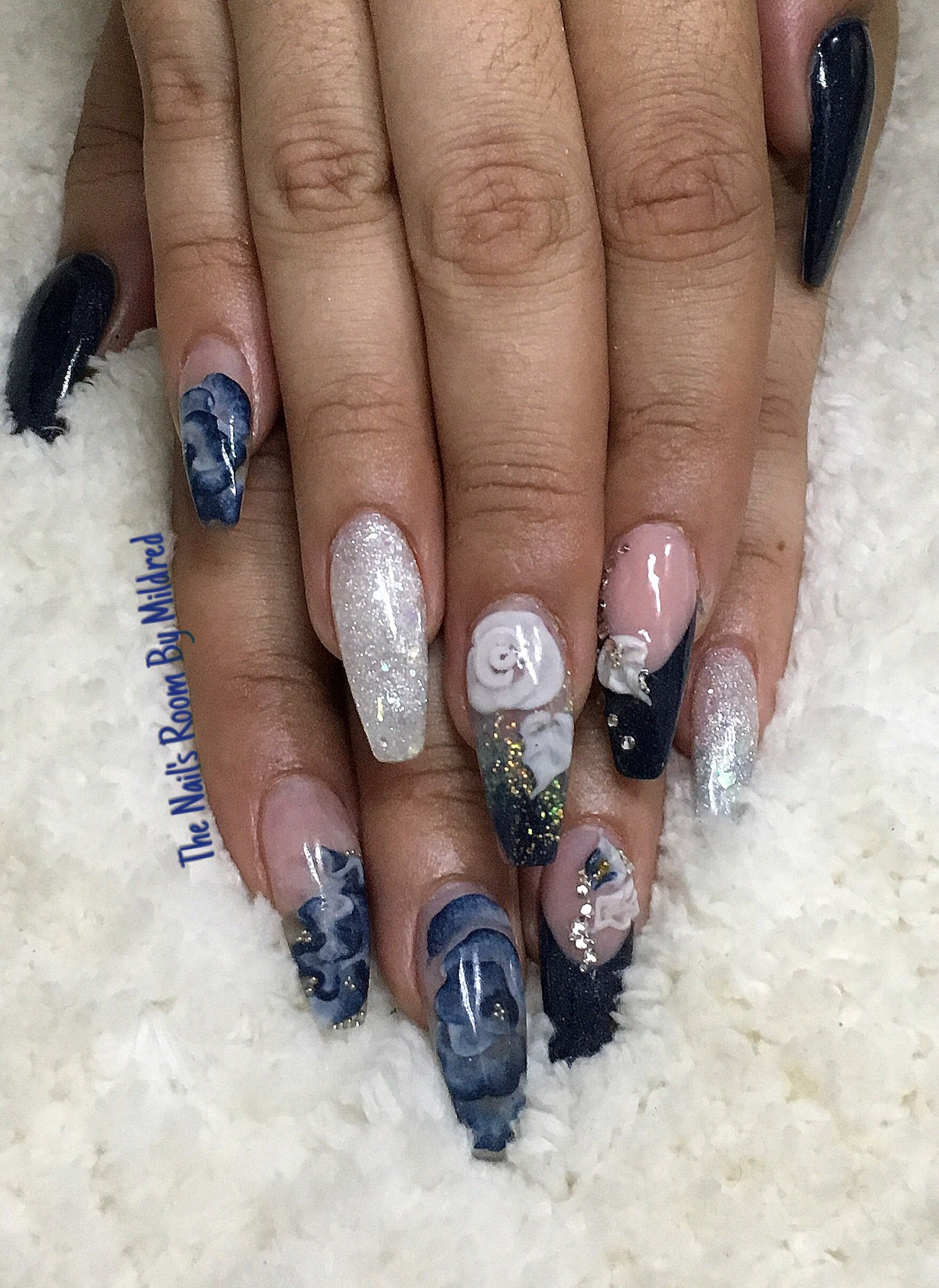 Pink zebra nails nails pinterest - Blue 3d Flowers Encapsulated And Glittery Off White Coffin Nails Thenailsroom