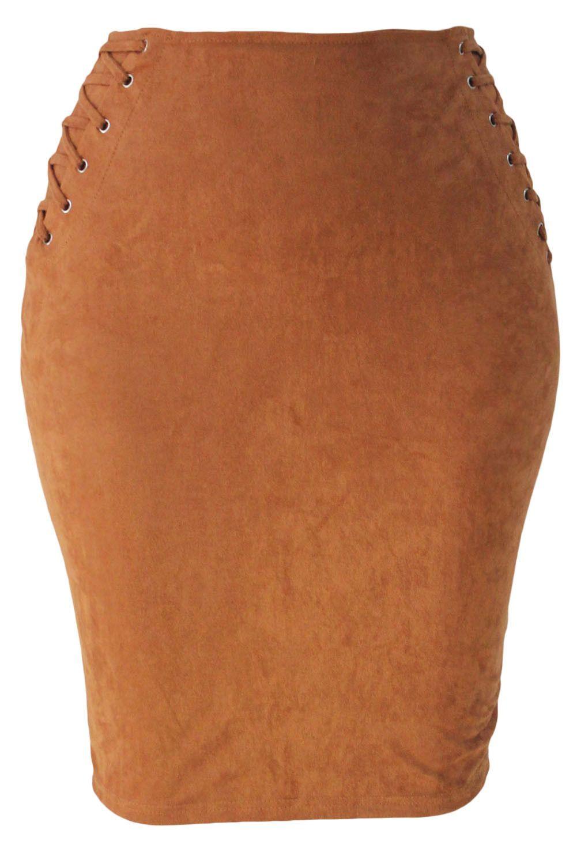 99753c57353cd Prix  €9.82 Jupe Crayon Simili Suede Classic Kaki Lace Up Pas Cher www.
