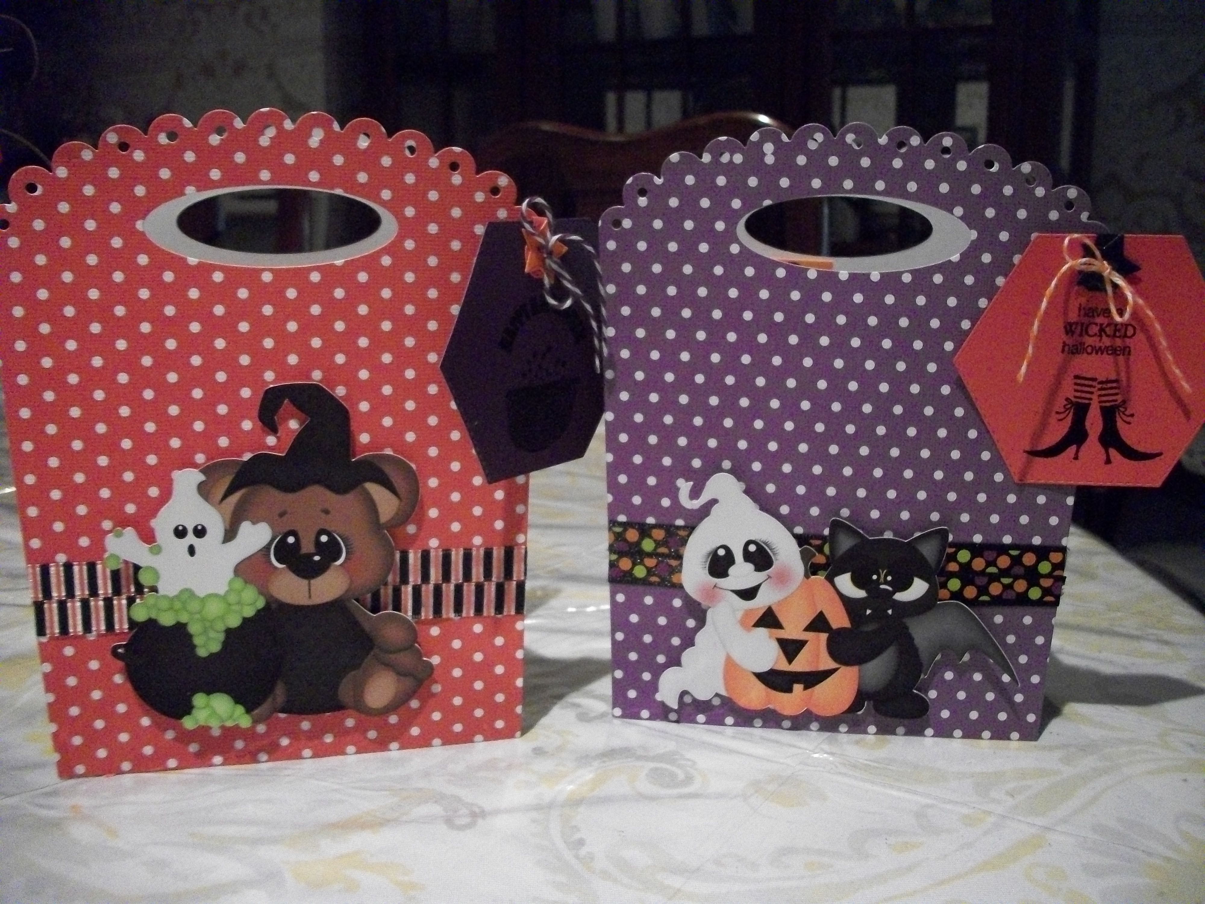 Halloween bags I made using pti die for my granddaughters' teachers for Halloween