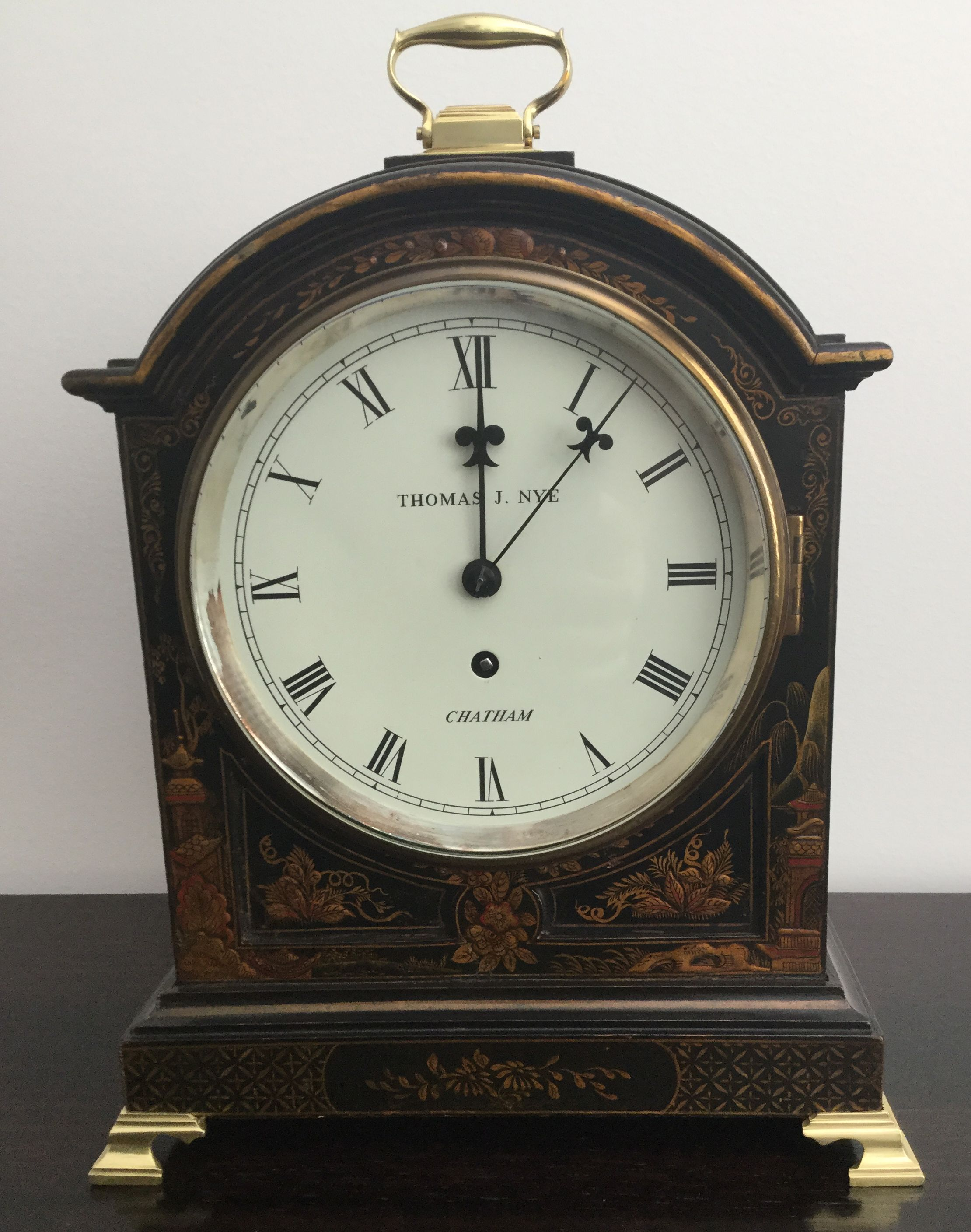 Black Chinoiserie Bracket Clock Brass Single Fusee Movement