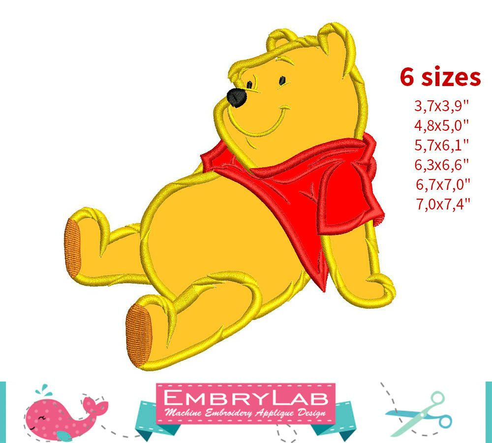 Winnie The Pooh Applique 02 Embroidery Design Instant Download