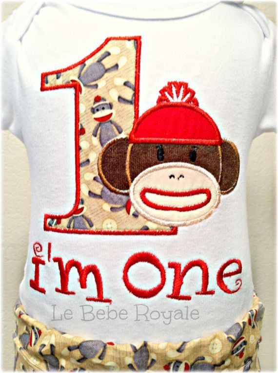 Cake Smash Outfit Boy Birthday Shirt 1ST Sock Monkey Size 12M 8 Sale