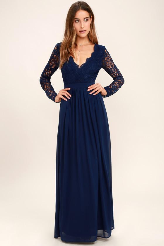 Long Sleeve Lace Maxi Dress