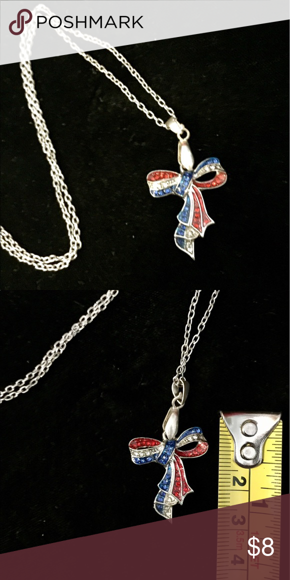 """Patriotic Ribbon pendant Patriotic Ribbon pendant necklace, approx 1.5"""" L, NWOT, never worn Jewelry Necklaces"""