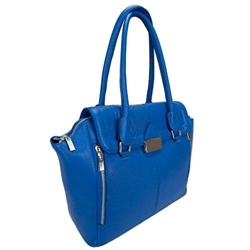 Freya Made In Italy Electric Blue Leather Shoulder Tote Bag