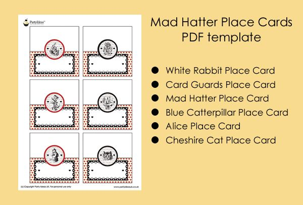Mad Hatter Tea Party Ideas Mad Hatter Place Cards Alice In Wonderland Party Ideas Bella 39 S