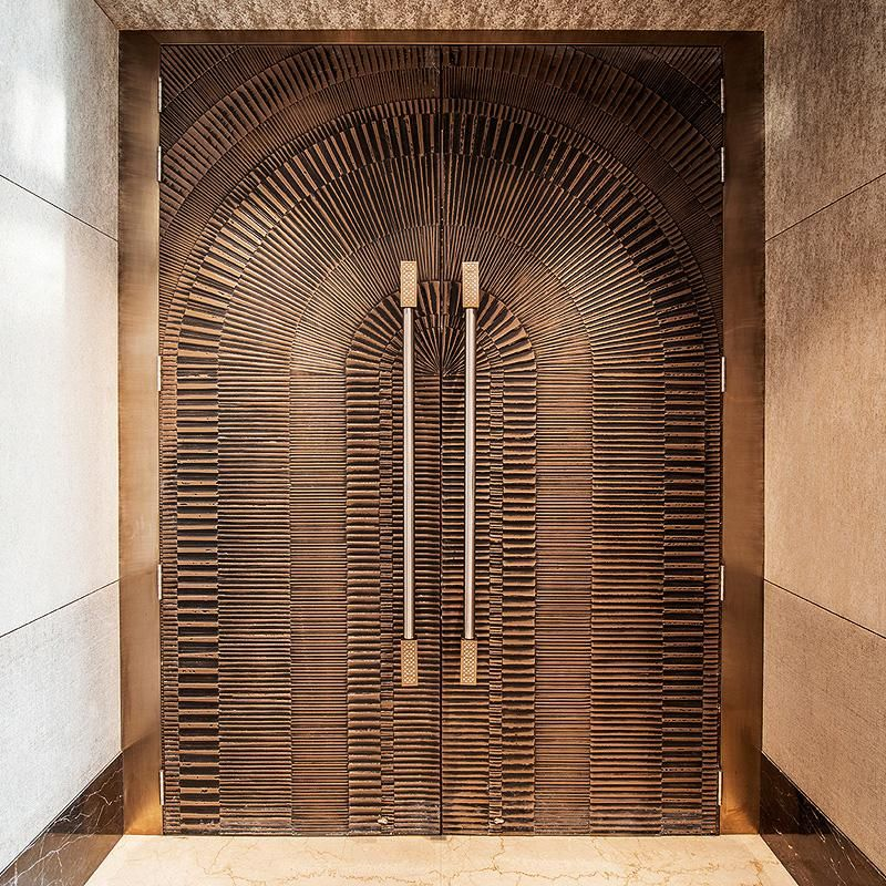 Doors in bonded bronze with dark patina and eclipse for Main entrance door design