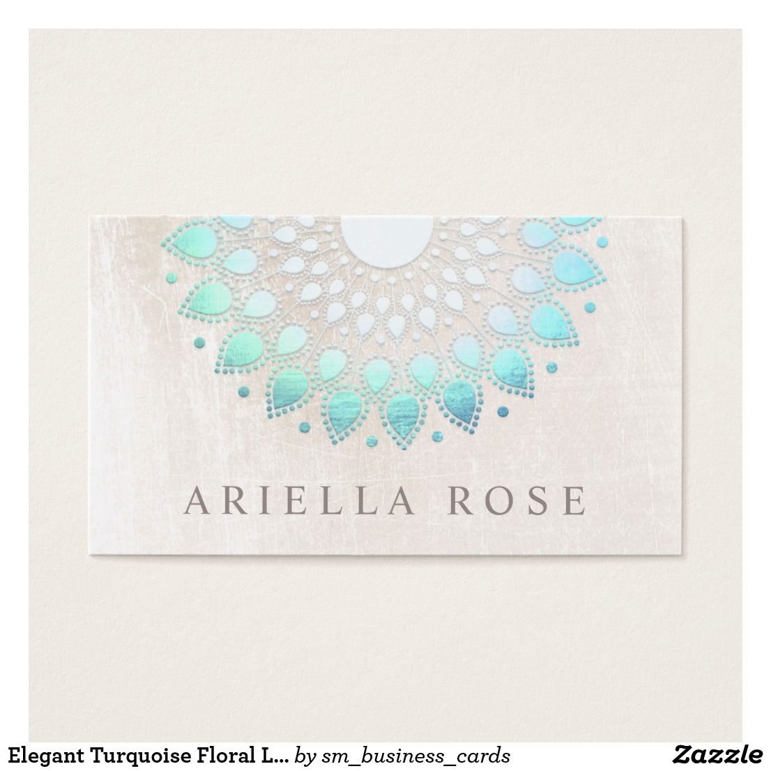 Elegant Turquoise Floral Lotus White Marble Business Card - Chic ...