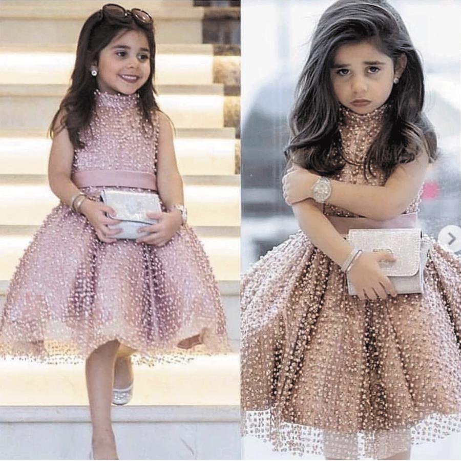 Cute Dusty Pink Flower Girl Dresses Beaded Tutu Puffy Kids Pageant Little Girl Dresses 2020 In 2020 Dresses Kids Girl Cheap Flower Girl Dresses Kids Frocks Design