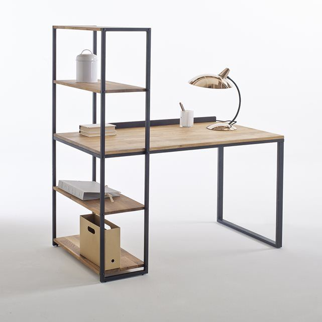 Image Hiba Solid Oak and Metal DeskShelving Unit La Redoute