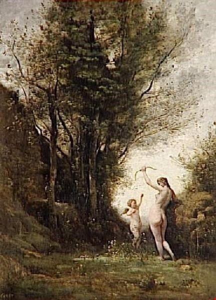 Una ninfa giocando con amore COROT, Jean-Baptiste-Camille I dettagli del lavoro su Art Gallery Encyclopdia in italiano