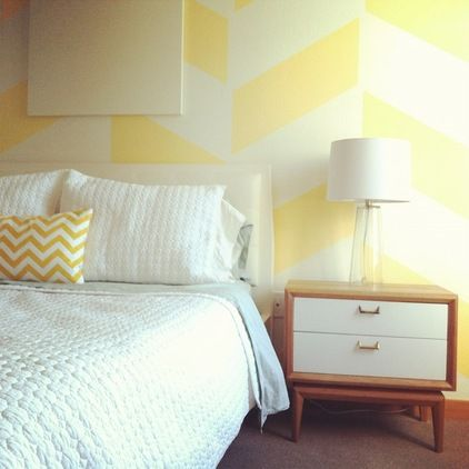 contemporary bedroom by LRIDesign Would love to paint a wall like ...
