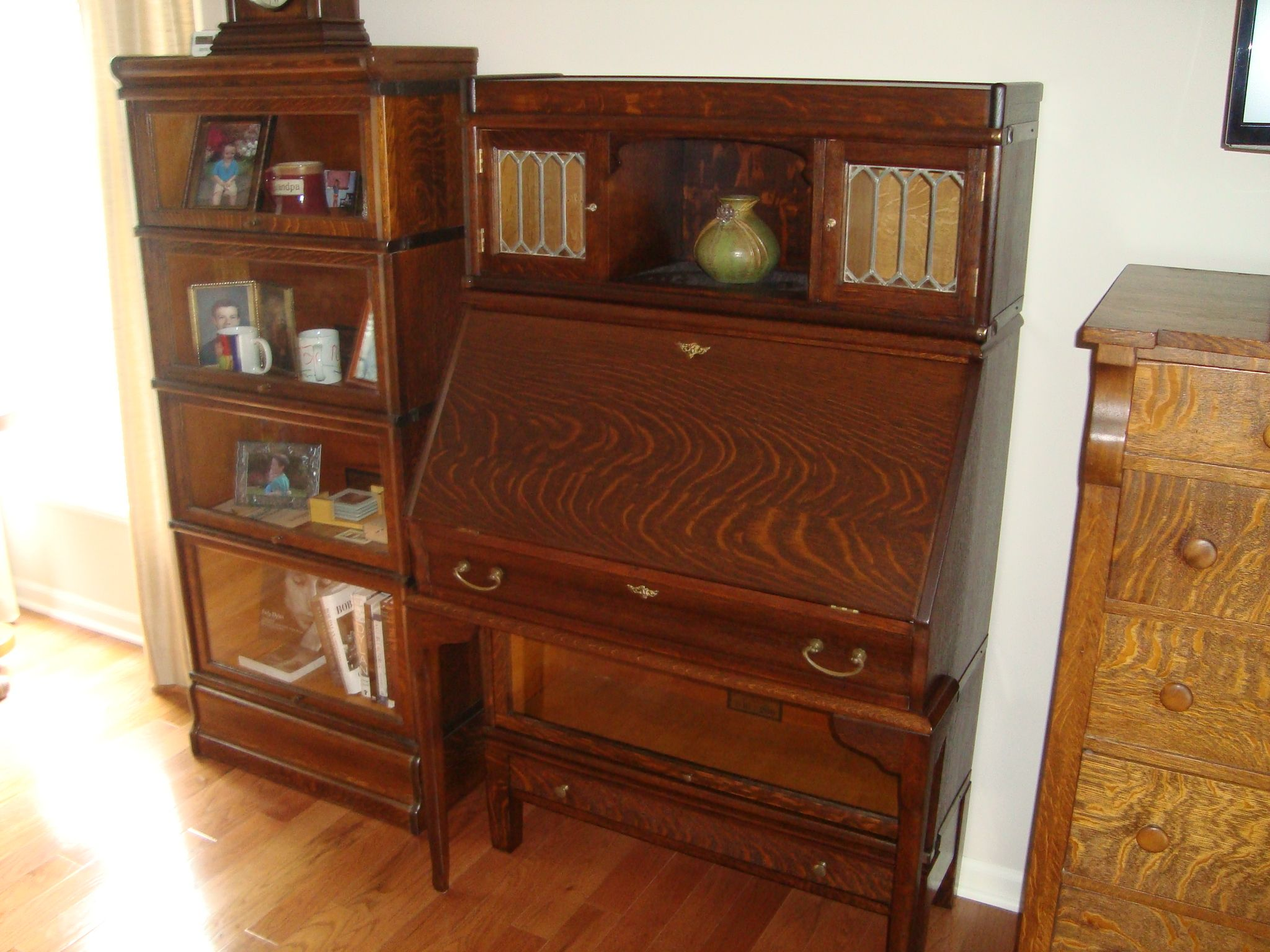Rare Globe Wernicke Bookcase With Desk Drawer Base And Top Locker Section And A 3 4 Size Four Stack Bookcase Bookcase Bookcases For Sale Vintage Cabinets