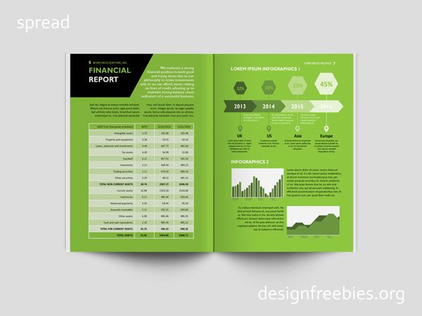 Free Black and Green Company Profile InDesign Template – Free Profile Templates
