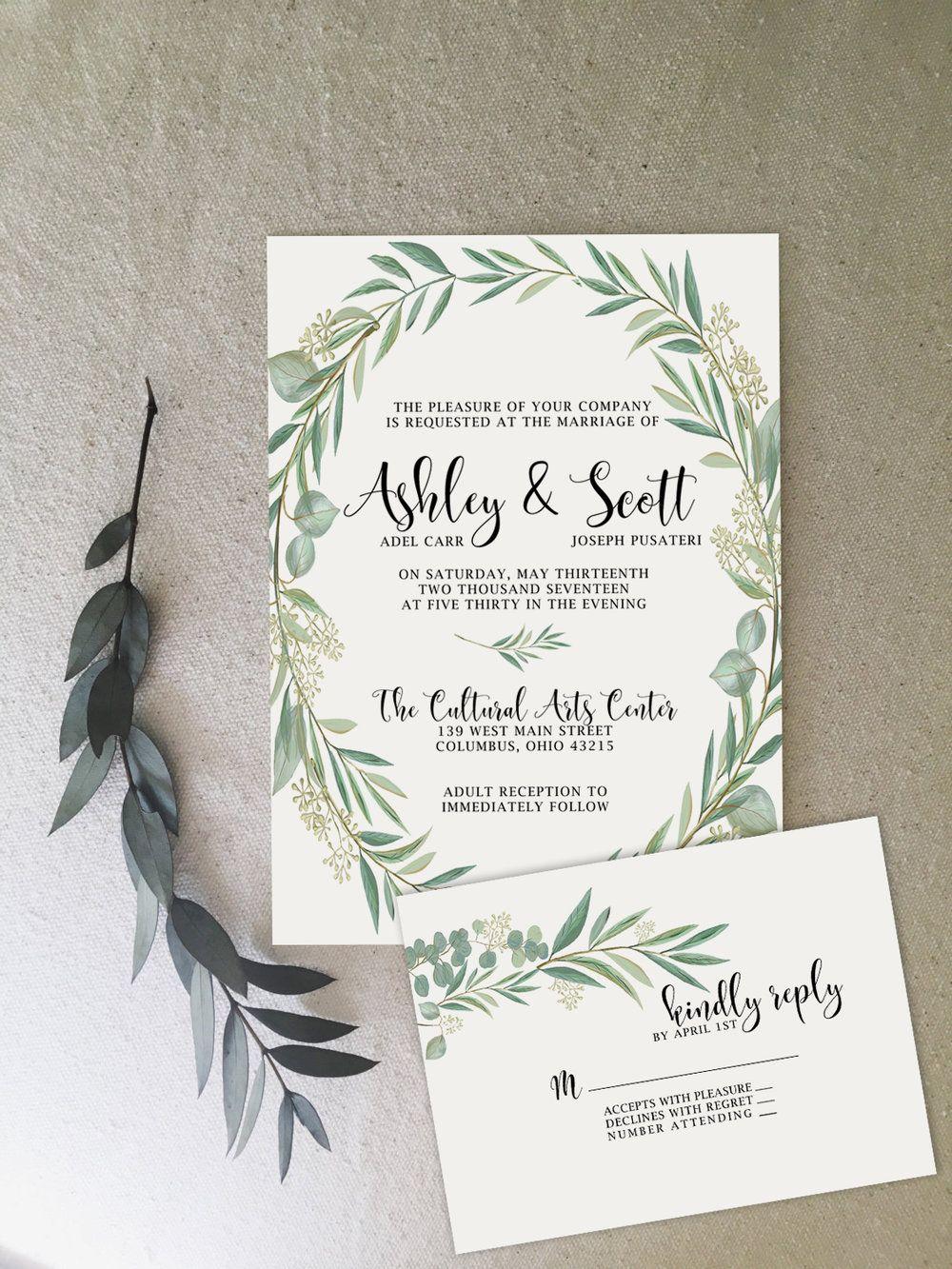 Whimsical simple greenery wedding invitations by @Unicaforma_ ...