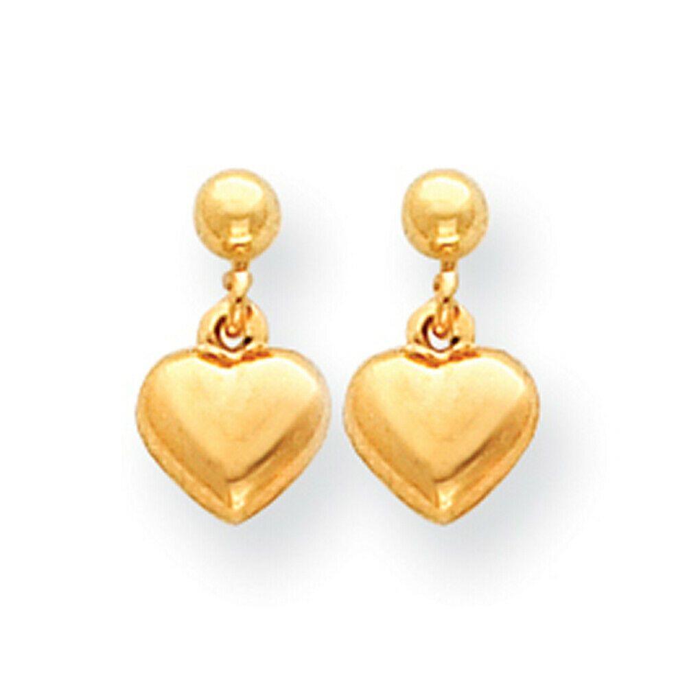 14K Yellow Gold Puffed Heart Childrens Dangling Earrings