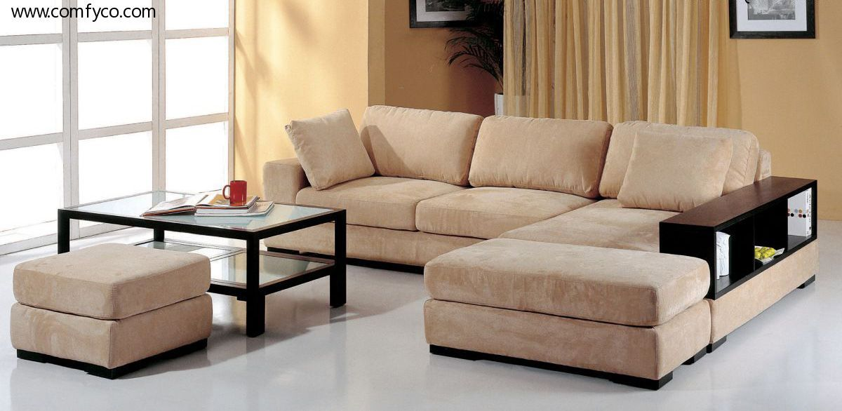 Telus Beige Rf Sectional Sofa 2 Ottomans Sectional Sofa Beige
