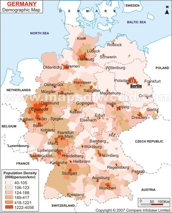 Map Demographics Demograhy Map Of Germany Population Of