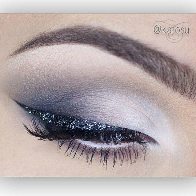 Smokey Gray White Eyeshadow Black Glitter Winged Eyeliner