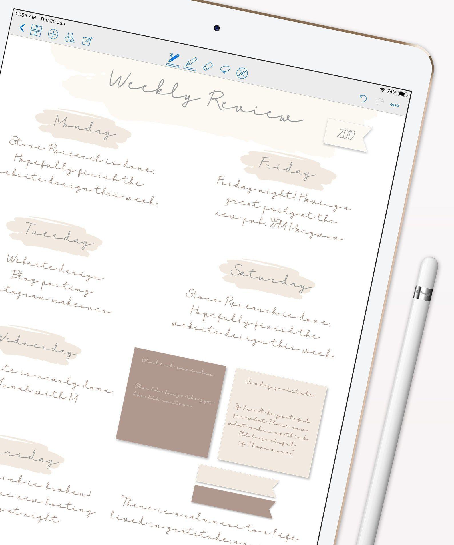 12 Neutrale Haftnotizen   iPad-Haftnotiz, digitaler Planer, GoodNotes-