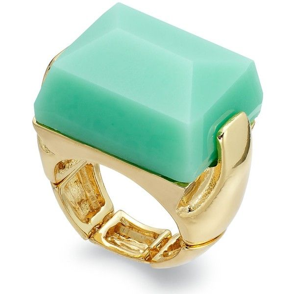 Bar III Gold-Tone Mint Stone Stretch Ring (324.985 IDR) ❤ liked on Polyvore featuring jewelry, rings, accessories, mint, mint green jewelry, stone rings, bar iii jewelry, adjustable rings and stretch rings jewelry