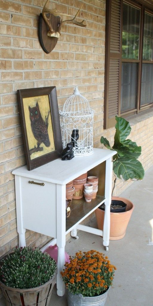 BSHT Potting Bench for Fall- owls and antlers on the porch