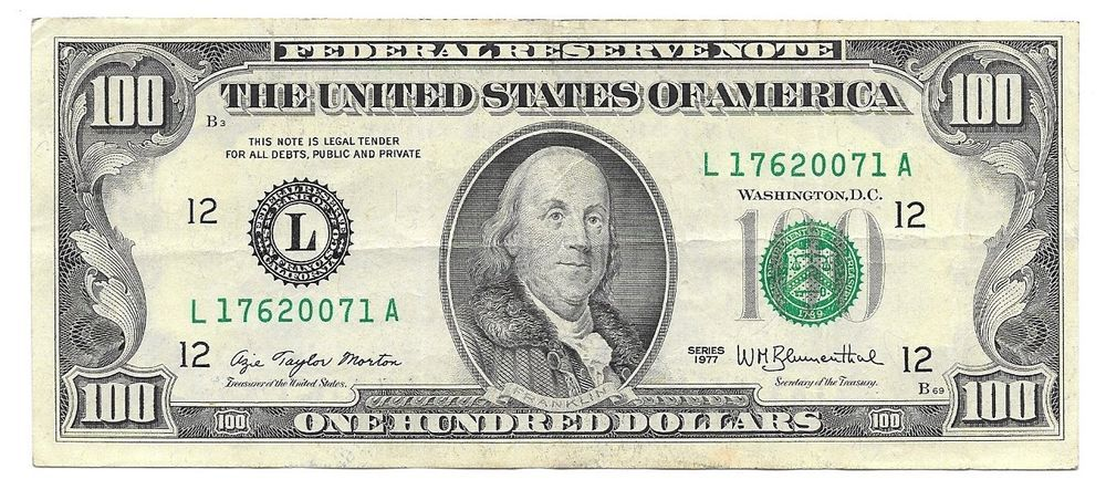 1977 US FEDERAL RESERVE FANCY NOTE ONE HUNDRED DOLLAR BILL