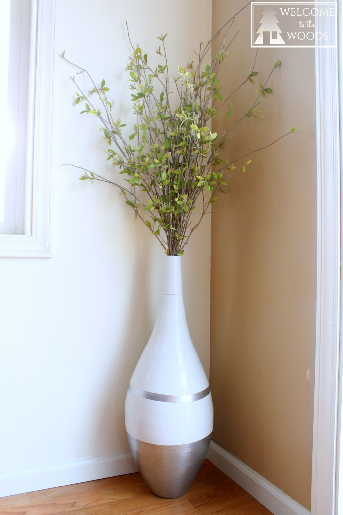 Vase Refresh Simple Modern White And Silver Dipped Large Vase I Painted The Bamboo Vase With Frogtape And Spray Large Vases Decor Floor Vase Decor Vases Decor