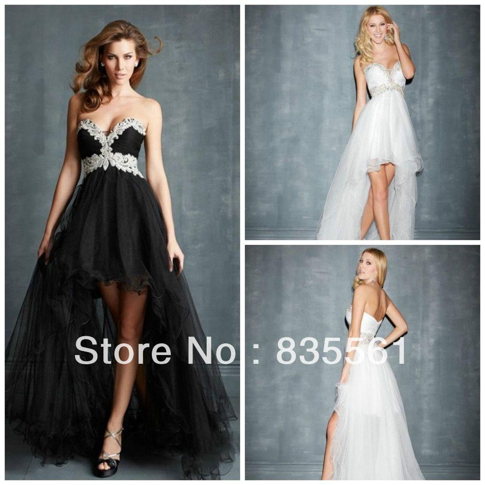high low prom dresses tulle custom made sweetheart white black