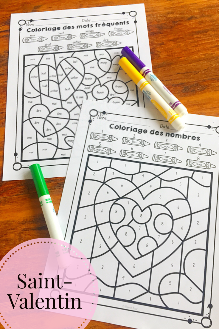La Saint Valentin French Valentine S Day Color By Code Kindergarten Activities Fun French French Lessons