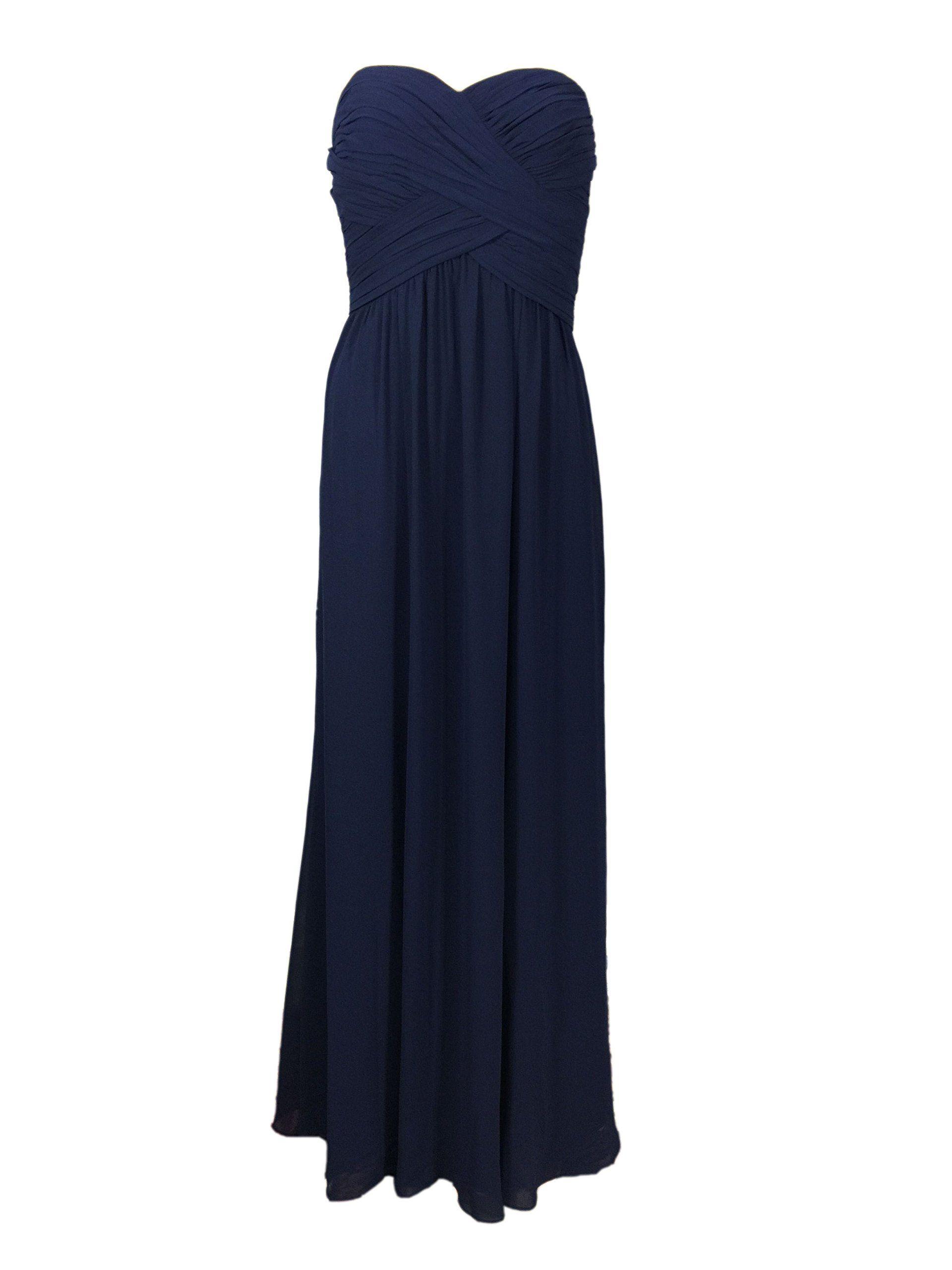 Lauren Ralph Lauren Strapless Empire Waist Evening Gown, Navy (6)