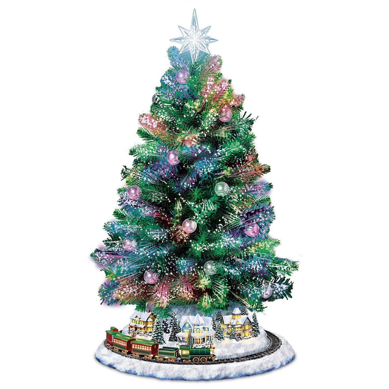Thomas Kinkade Holiday Sparkle Colorchanging Fiberoptic Tabletop Christmas Tree Unique Christmas Trees Christmas Tree Decorations Items Tabletop Christmas Tree