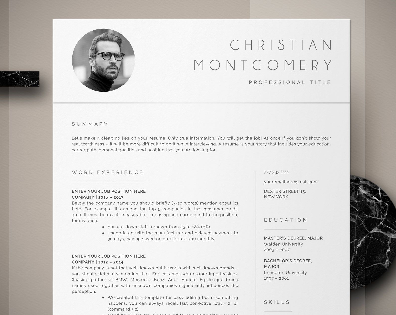 Professional resume template instant download