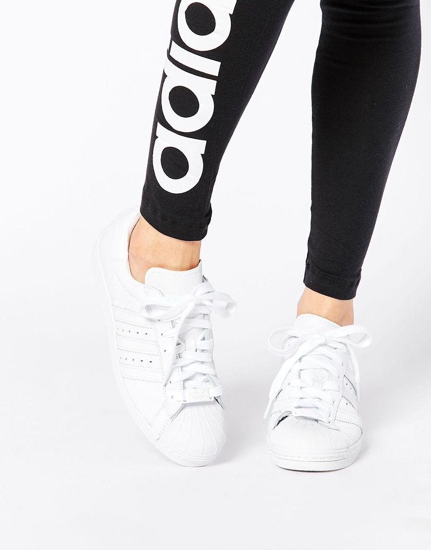 buy popular 520b3 b5127 adidas Originals Superstar 80 s All Over White Trainers