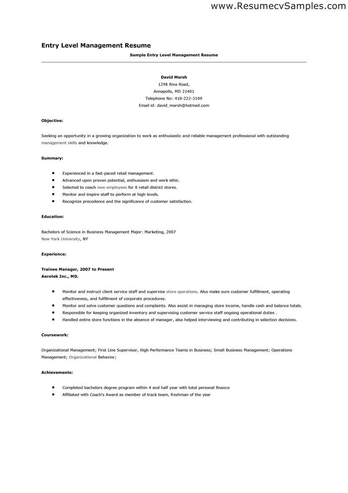 sample entry level management resume - Bulespenantly - Entry Level Resume