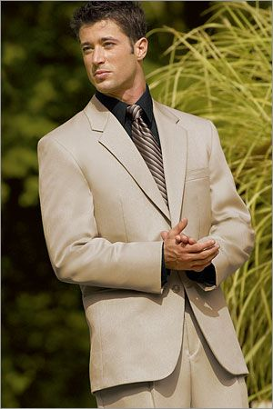 Tan tux with Dark brown vest and tie, ivory shirt | Wedding ...
