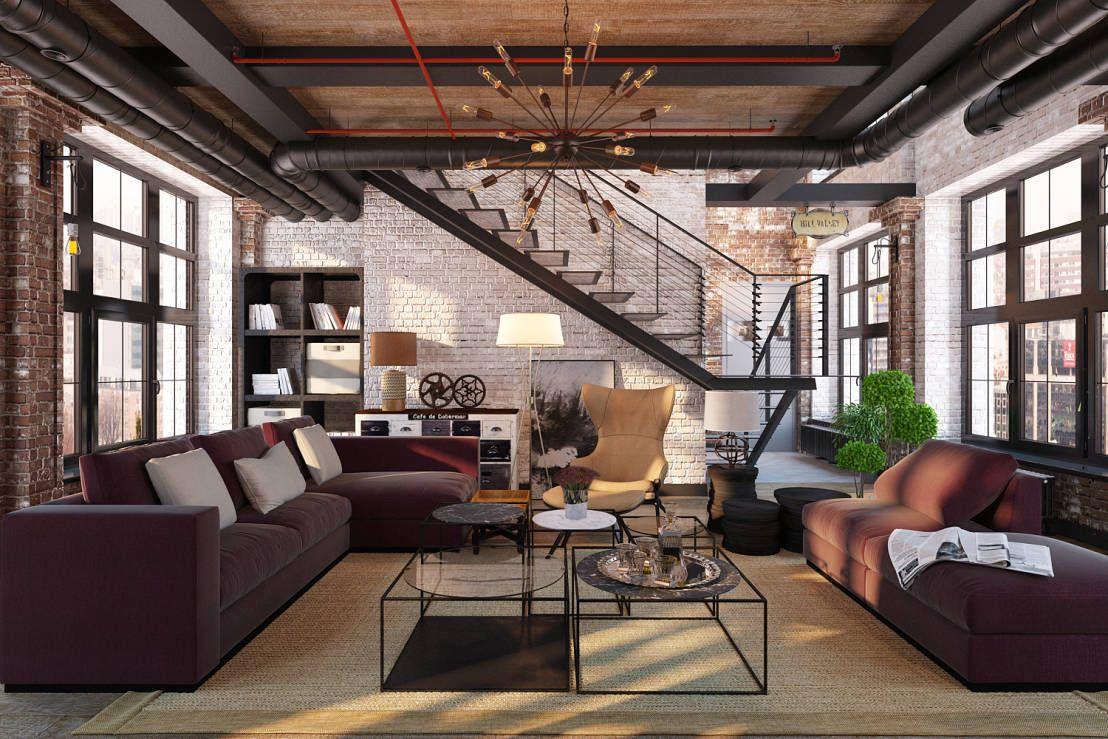 Salones industriales de salas estilo - Loft decoracion interiores ...