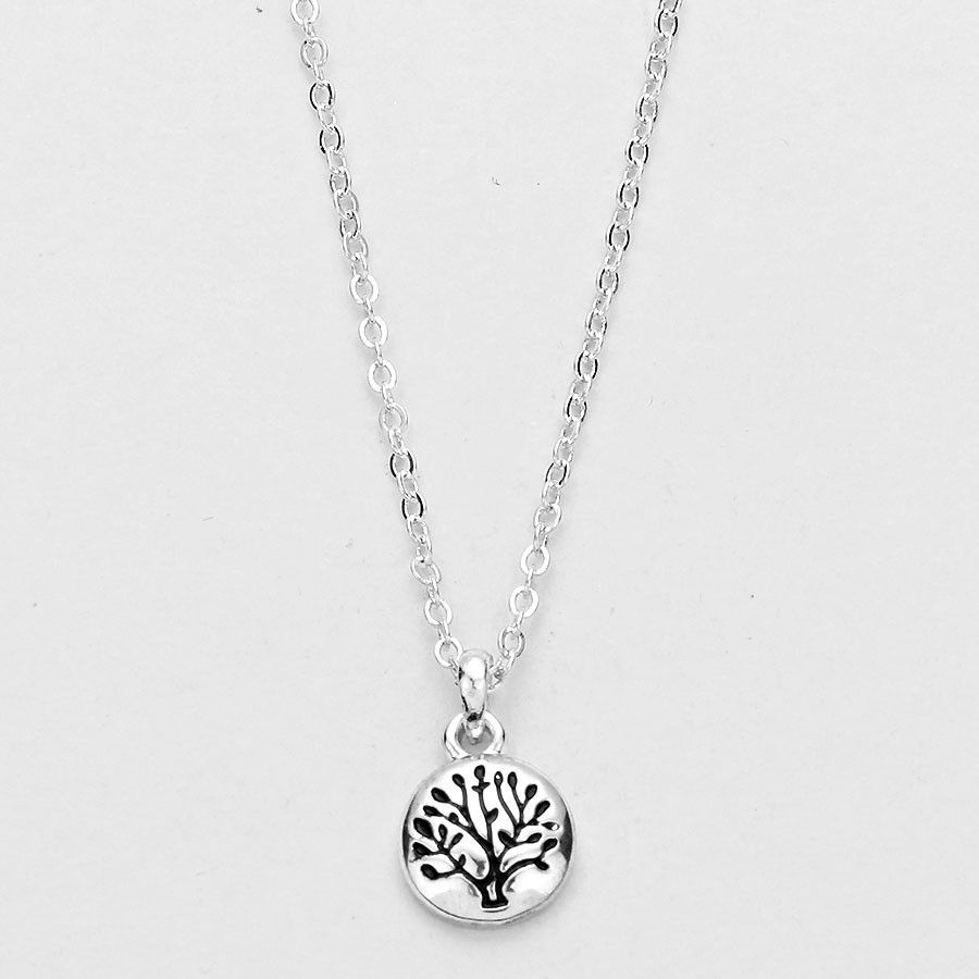 Tree Of Life Silver Disc Necklace